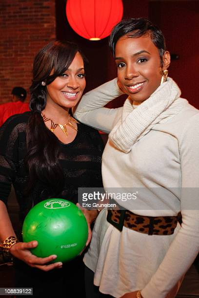LaLa Vasquez and Kelly Rowland are seen at Lucky Strike Lanes on February 3 2011 in Lakewood Colorado