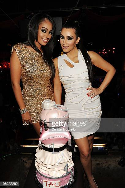 Lala Vasquez and Kim Kardashian celebrate Lala's bachelorette party at Tao Nightclub at the Venetian Hotel and Casino Resort on May 7 2010 in Las...