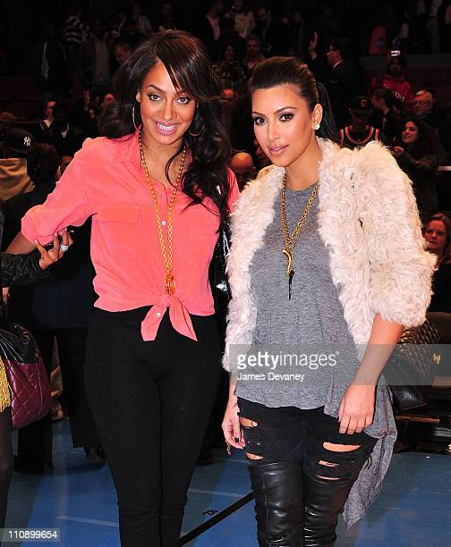Lala Vazquez and Kim Kardashian attend the Milwaukee Bucks vs New York Knicks game at Madison Square Garden on March 25 2011 in New York City