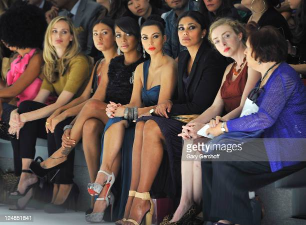Lala Vazquez Kim Kardashian and designer Rachel Roy attend the Vera Wang Spring 2012 fashion show during MercedesBenz Fashion Week at The Stage at...
