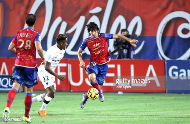 Lalaina Nomenjanahary of Paris FC and Dominique Guidi of Gazelec during the Ligue 2 match between Gazelec Ajaccio and Paris FC at Stade Ange Casanova...