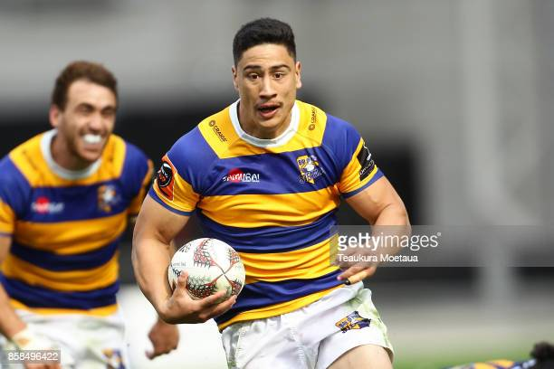 Lalakai Foketi of Bay of Plenty makes a break during the round eight Mitre 10 cup match between Otago and Bay of Plenty at Forsyth Barr Stadium on...