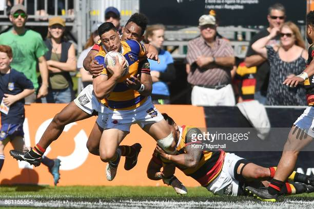 Lalakai Foketi of Bay of Plenty tries to spin through a tackle during the round nine Mitre 10 Cup match between Bay of Plenty and Waikato at Tauranga...