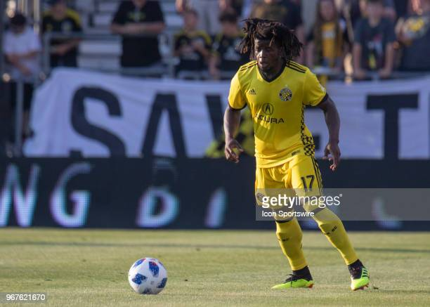 Lalas Abubakar of Columbus Crew SC controls the ball during the game between the Columbus Crew SC and the Toronto FC at MAPFRE Stadium in Columbus...