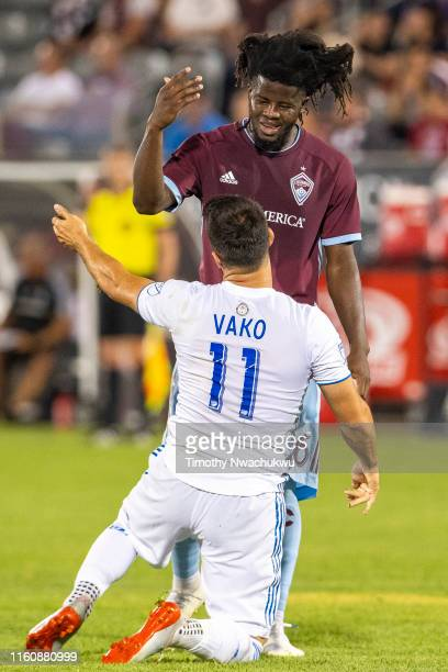 Lalas Abubakar of the Colorado Rapids gestures towards Vako of the San Jose Earthquakes during the second half at Dick's Sporting Goods Park on...