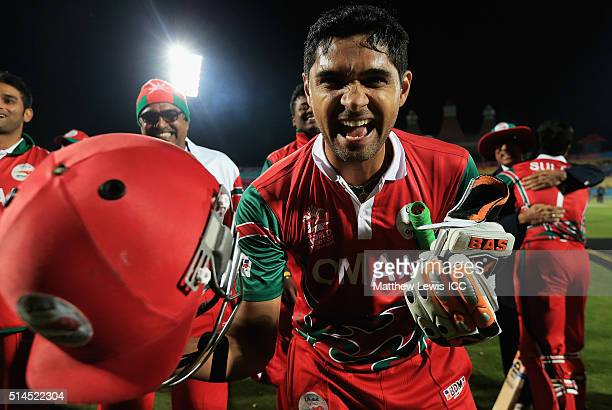 Lalcheta of Oman celebrates his teams win over Ireland during the ICC Twenty20 World Cup match between Ireland and Oman at the HPCA Stadium on March...