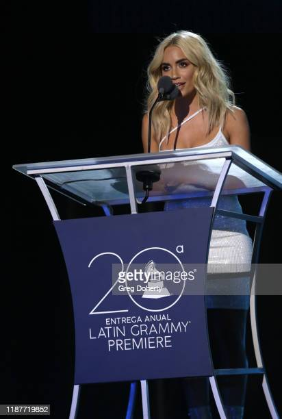 Lali Espósito speaks onstage at the Premiere Ceremony during the 20th annual Latin GRAMMY Awards at MGM Grand Garden Arena on November 14 2019 in Las...