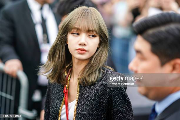 "Lalisa Manoban ""Lisa"" from the Korean band Blackpink, is seen ouside Celine during Paris Fashion Week - Menswear Spring/Summer 2020, on June 23, 2019..."