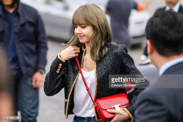Lalisa Manoban Lisa from the Korean band Blackpink is seen ouside Celine during Paris Fashion Week Menswear Spring/Summer 2020 on June 23 2019 in...