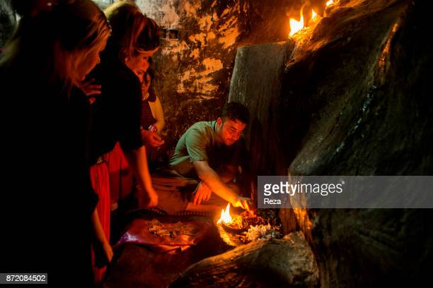 Lalish Nûranî Yazidi Temple Evening fire ritual Fire is important to the Yazidis who venerate it as the incarnation of the Sun on Earth Every evening...