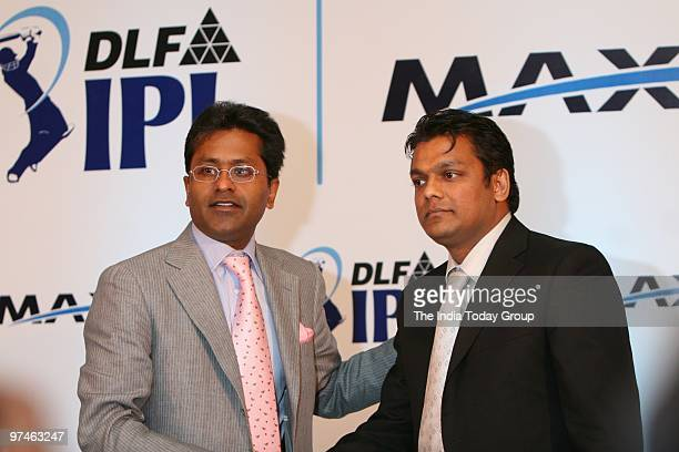 Lalit Modi and Ajjay Agarwal chairman and MD MAXX group during the press conference for announcing the sponsorship deals between IPL and MAX Mobile...