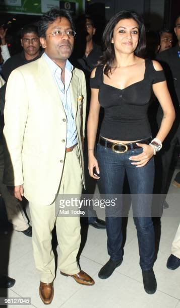 Lalit Modi and Sushmita Sen at a live screening of the an Indian Premier League3 match at a theatre in Mumbai on March 28 2010