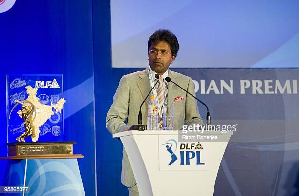 Lalit Modi chairman and commissioner of Indian Premier League attends the IPL Auction 2010 on January 19 2010 in Mumbai India