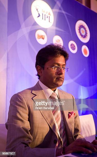 Lalit Modi Chairman Commissioner of Indian Premier League at the IPL Auctioon 2010 on January 19 2010 in Mumbai India