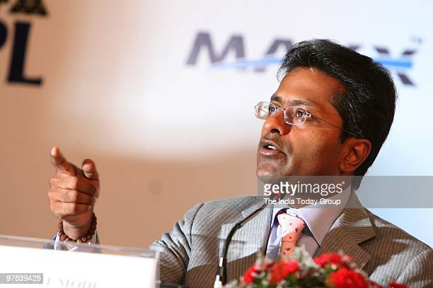 Lalit Modi during the press conference for announcing the sponsorship deals between IPL and MAX Mobile in the western Indian city of Mumbai on March...