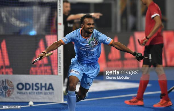 Lalit Upadhyay of India wheels away in celebration after scoring the final goal of the match during the FIH Men's Hockey World Cup Pool C match...
