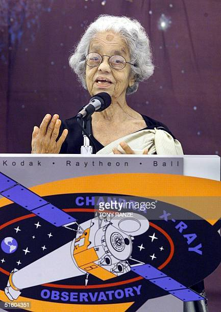 Lalitha Chandrasekhar of India addresses the media about the Chandra X-ray Observatory named after her late husband, Nobel laureate Subrahmanyan...