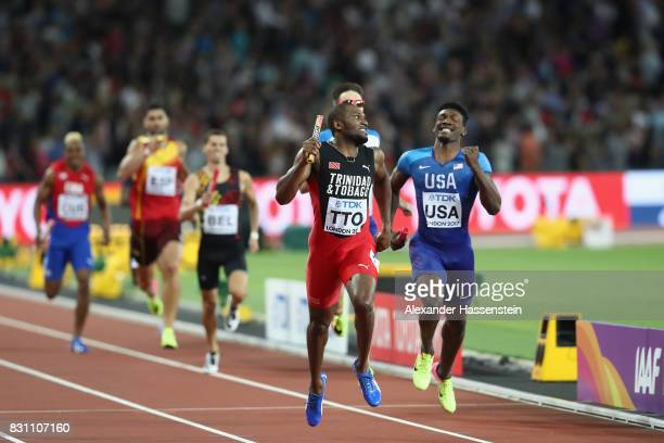 Lalonde Gordon of Trinidad and Tobago and Fred Kerley of the United States compete in the Men's 4x400 Metres Relay final during day ten of the 16th...