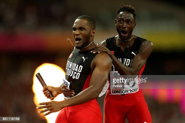 Lalonde Gordon of Trinidad and Tobago celebrates with Jereem Richards after winning the Men's 4x400 Metres Relay final during day ten of the 16th...