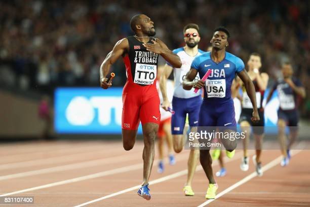 Lalonde Gordon of Trinidad and Tobago crosses the finish line ahead of Fred Kerley of the United States and Martyn Rooney of Great Britain in the...