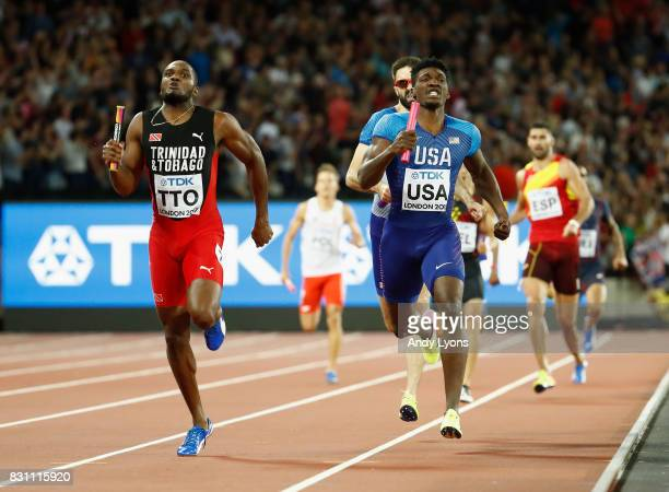 Lalonde Gordon of Trinidad and Tobago races to the finish line ahead of Fred Kerley of the United States and Martyn Rooney of Great Britain in the...