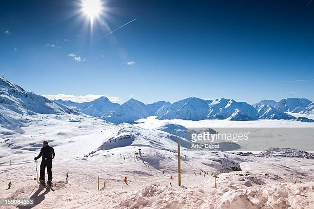 l'Alpe d'Huez with skier.