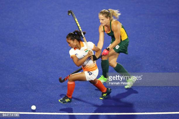 Lalremsiami of India shoots at goal during the Women's Pool A match between South Africa and India on day six of the Gold Coast 2018 Commonwealth...