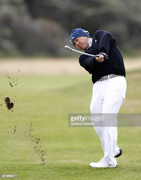 Lam Chih Bing of Singapore in action on the 1st in the third round at The Open golf tournament at Royal Birkdale in Southport in northwest England on...