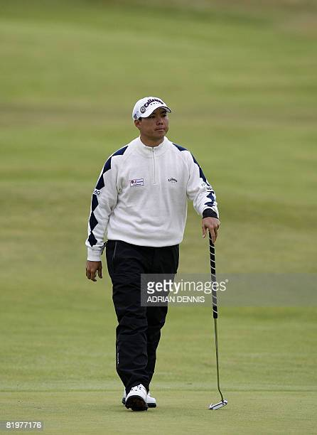 Lam ChihBing of Singapore in action on the 2nd during the second day of the British Open golf tournament at Royal Birkdale in Southport in northwest...