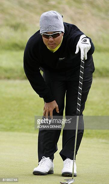 Lam ChihBing of Singapore in action on the 6th during the third practice day at the British Open golf tournament at Royal Birkdale in Southport in...