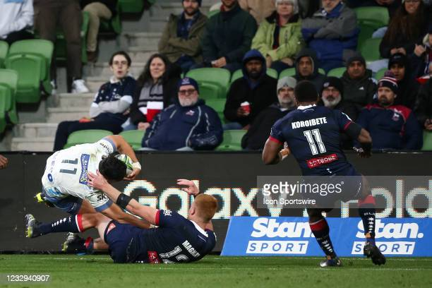 Lam of the Blues gets tackled during round one of the Super Rugby Trans Tasman match between the Melbourne Rebels and Blues at AAMI Park on May 15,...