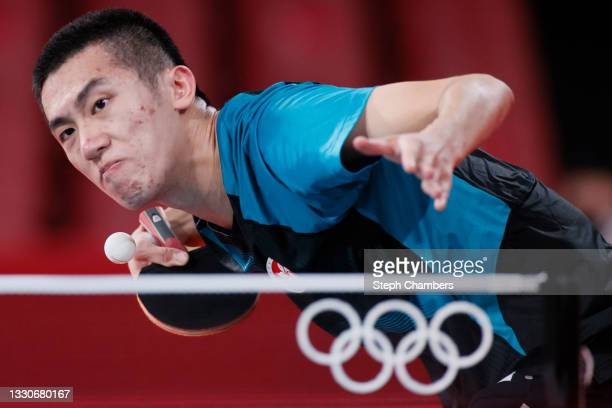 Lam Siu Hang of Team Hong Kong in action during his Men's Singles Round 3 match on day three of the Tokyo 2020 Olympic Games at Tokyo Metropolitan...