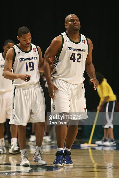 Lamar Butler helps Alton Ford of the Reno Bighorns off the court during the DLeague game against the Erie Bayhawks at the Reno Events Center on April...
