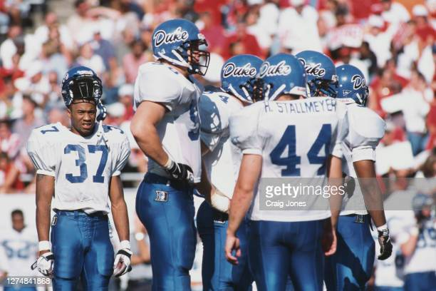 Lamar Grant, Defensive Back for the Duke University Blue Devils stands outside the huddle during a NCAA Atlantic Coast Conference college football...