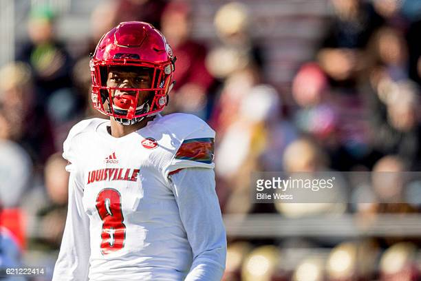 Lamar Jackson of Louisville looks on during the first quarter of a game against Boston College at Alumni Stadium on November 5 2016 in Chestnut Hill...