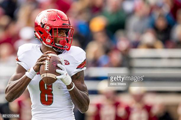 Lamar Jackson of Louisville throws during the second quarter of a game against Boston College at Alumni Stadium on November 5 2016 in Chestnut Hill...