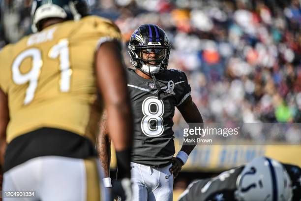 Lamar Jackson of the Baltimore Ravens in action during the 2020 NFL Pro Bowl at Camping World Stadium on January 26 2020 in Orlando Florida