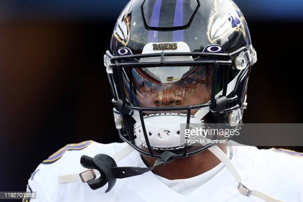 Lamar Jackson of the Baltimore Ravens looks on before the game against the Buffalo Bills at New Era Field on December 08 2019 in Orchard Park New York