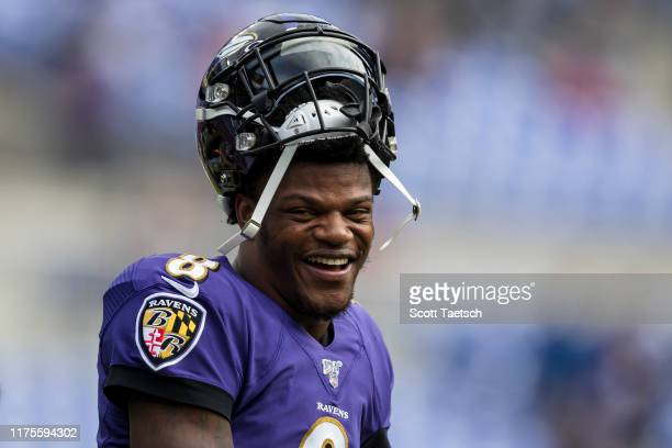Lamar Jackson of the Baltimore Ravens reacts before the game against the Cincinnati Bengals at MT Bank Stadium on October 13 2019 in Baltimore...