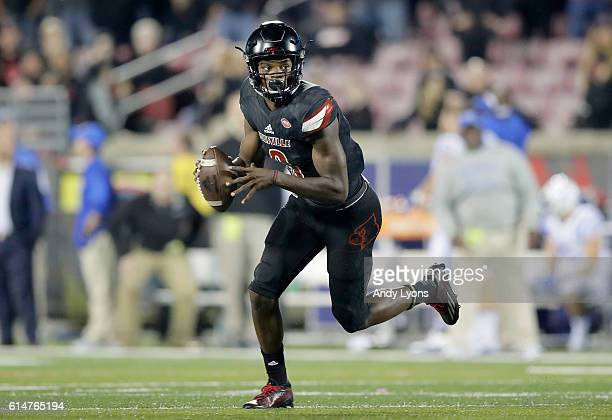 Lamar Jackson of the Louisville Cardinals runs with the ball during the game against the Duke Blue Devils at Papa John's Cardinal Stadium on October...