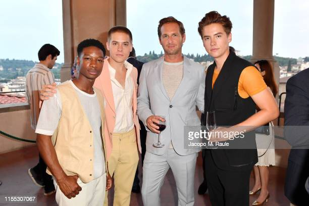 Lamar Johnson Dylan Sprouse Josh Lucas and Cole Sprouse attend the Salvatore Ferragamo Private Dinner at Palazzo Vecchio during Pitti Immagine Uomo...
