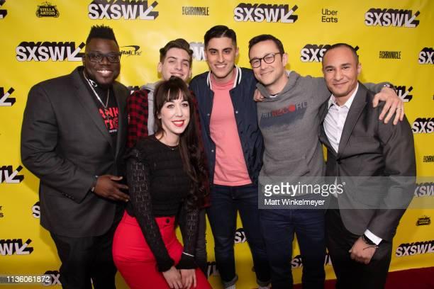 Lamar Jones Marybeth Kern Joshua Driskell Ariea Bastami Joseph GordonLevitt and Luciano Nascimento attend the Band Together With Logic 2019 SXSW...