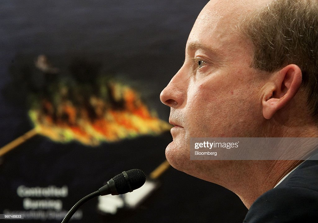 Lamar McKay, chairman of BP America Inc., testifies at a Senate Homeland Security Committee hearing as a graphic is displayed in the background in Washington, D.C., U.S., on Monday, May 17, 2010. McKay said Transocean Ltd., owner of the Gulf of Mexico drilling rig that exploded and sank in April, was responsible for the safe operation of the equipment. Photographer: Joshua Roberts/Bloomberg via Getty Images