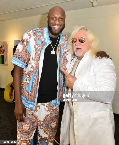 Lamar Odom and Jim McDowell attend the Celebrity Boxing Press Conference at James L. Knight Center on September 30, 2021 in Miami, Florida. Celebrity...