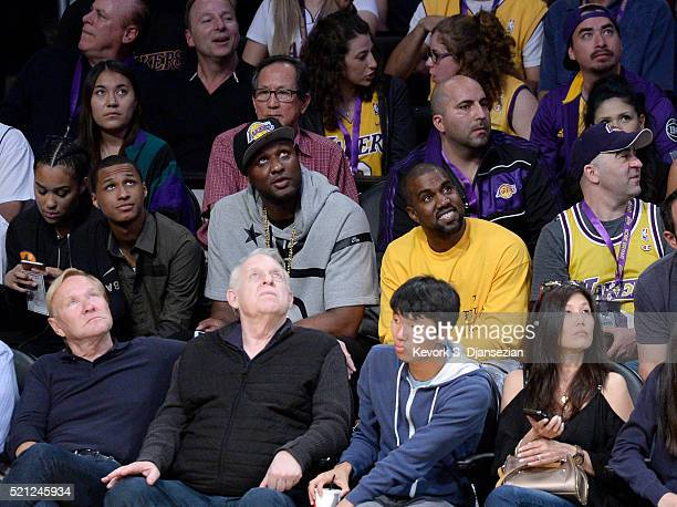 Lamar Odom and Kanye West attend Kobe Bryant's final game between the Utah Jazz and the Los Angeles Lakers at Staples Center on April 13 2016 in Los...