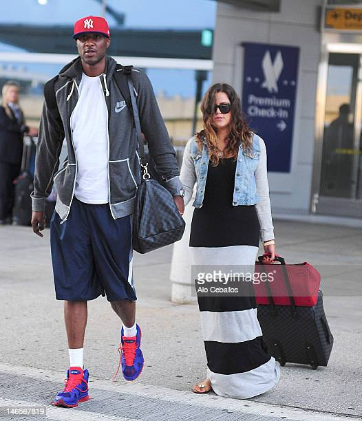 Lamar Odom and Khloe Kardashian are seen at Streets of Manhattan on June 19 2012 in New York City
