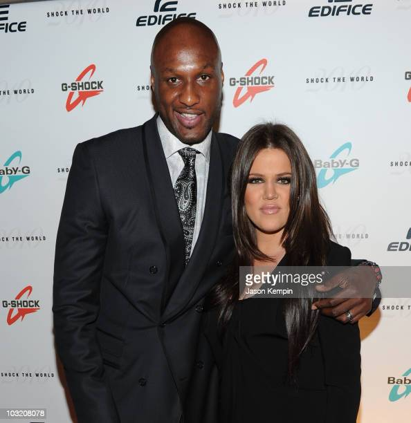 Lamar Odom and Khloe Kardashian attends the Casio 'Shock the World' event at The Manhattan Center on August 2 2010 in New York City