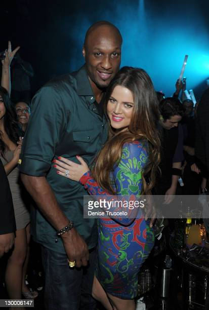 Lamar Odom and Khloe Kardashian celebrate Kim Kardashian's birthday at Marquee Nightclun at the Cosmopolitan on October 22 2011 in Las Vegas Nevada