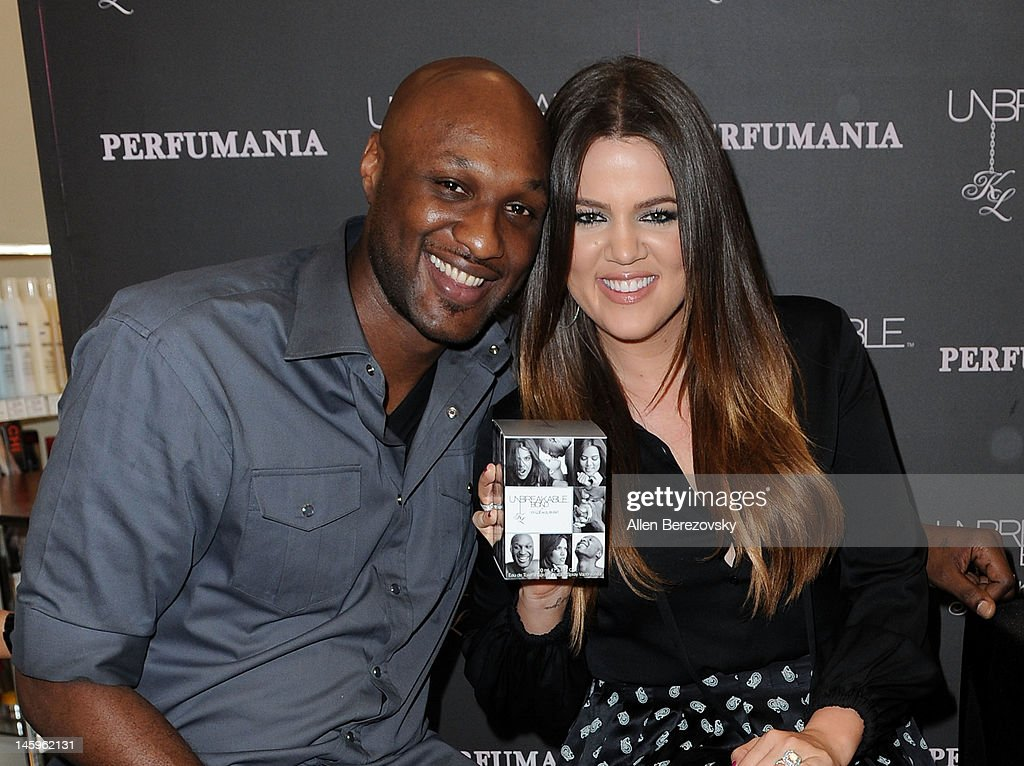 Lamar Odom and Khloe Kardashian Odom make a personal appearance to promote their 'Unbreakable Bond' fragrance at Perfumania on June 7, 2012 in Orange, California.