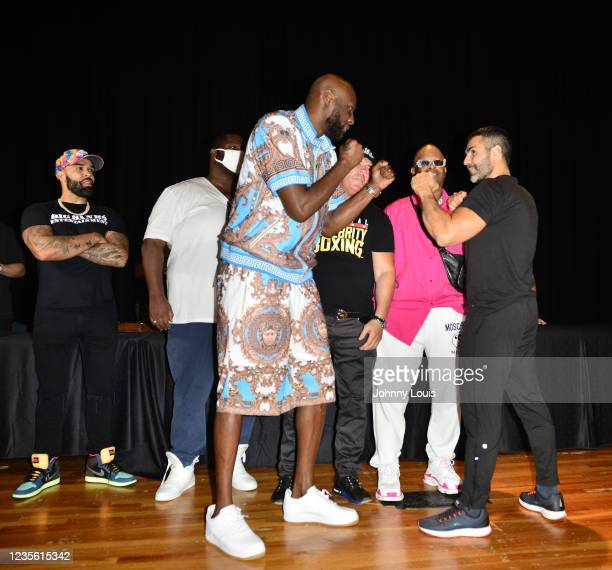 Lamar Odom and Ojani Noa attend the Celebrity Boxing Press Conference at James L. Knight Center on September 30, 2021 in Miami, Florida. Celebrity...
